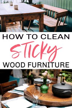 How to Clean Sticky Wood Furniture - Remove wax buildup and haze using this all-natural, easy method. Fixing Wood Furniture, Cleaning Wood Furniture, Furniture Cleaner, Furniture Wax, Furniture Removal, How To Clean Furniture, House Cleaning Tips, Cleaning Hacks, Cleaning Solutions