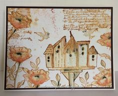 Art Impressions WC Birdhouses (Sku#P3377) Handmade water color bird house card.