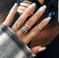 Inspired by the divine feminine. This edgy Luna Girl Golden Ring Set features 7 … Inspired by the divine feminine. This edgy Luna Girl Golden Ring Set features 7 Gold plated rings. Black Nail Art, Black Nails, White Nails, Gold Nails, Glitter Nails, Blue Nail, Dark Grey Nails, Sparkle Acrylic Nails, Glitter Makeup