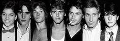 The Outsiders. Ralph Machio, Matt Dillion, Patrick Swayze, C. Thomas Howell, Rob Lowe, Emilio Estevez, Tom Cruise.