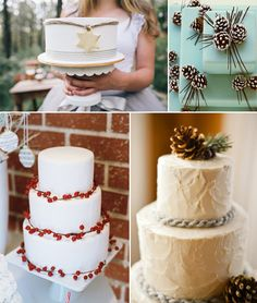 christmas wedding cakes.  I like the blue cake with pinecone trim.  Cranberries for trim, they could be sugared.  The use of stars is wonderful touch.