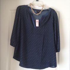 Ann Taylor navy blue blouse Navy blue Ann Taylor blouse with print pattern Ann Taylor Tops Blouses