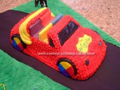 Homemade Wiggles Big Red Car Cake: I made this Wiggles Big Red Car Cake for my daughter's second birthday because she LOVED the Wiggles. I baked a yellow cake in the Wilton car cake pan Wiggles Cake, Wiggles Party, Wiggles Birthday, The Wiggles, 4th Birthday Cakes, 2nd Birthday Parties, Boy Birthday, Birthday Ideas, Rocket Ship Cakes