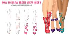 How to draw front view shoes step by step tutorial http://www.idrawfashion.com/accessories/shoes/143-how-to-draw-front-view-shoes