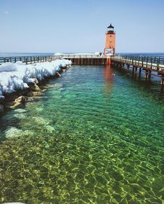 We love this shot from the Charlevoix South Pier Lighthouse shared by Instagrammer (at)kyle_heath97.