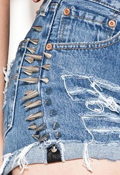 Spikes on edgy denim short