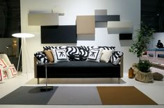 Woodnotes Whisper acoustic wall panel collage and Fourways paper yarn carpet.