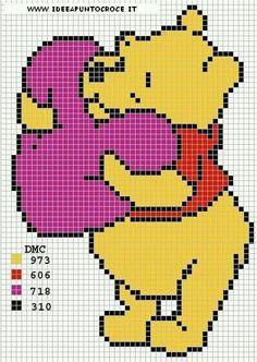 Trendy Knitting Charts Disney Winnie The Pooh Ideas Cross Stitch Designs, Cross Stitch Patterns, Tapete Doily, Cross Stitching, Cross Stitch Embroidery, Winnie The Pooh Blanket, Pixel Crochet Blanket, Modele Pixel Art, Stitch Cartoon