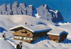 "(Oberndorf Kitzbühel) ""Hof am Wilden Kaiser"", signed Alfons Walde Farm Pictures, Study Architecture, Native Style, Gustav Klimt, Winter Landscape, Pretty Art, Modern Art, Scenery, Gallery"