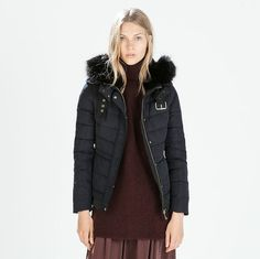 ZARA Woman BNWT Navy Blue Quilted Anorak With Fur Hood Duck Down 8073/225