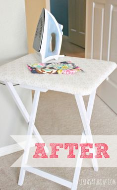 "DIY: Small Ironing Table. I know ""iron"" is a four-letter word in my family, but eventually I'm going to need to invest in one and actually use it."