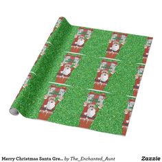 Shop Merry Christmas Santa Green Sparkle Wrapping Paper created by The_Enchanted_Aunt. Unique Wrapping Paper, Wrapping Paper Design, Gift Wrapping, Merry Christmas Santa, Christmas Wrapping, Holiday Cards, Picnic Blanket, Unique Gifts, Photo Gifts