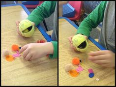 """Mr. Mouth"" is great for hand strengthening, bilateral coordination, and promoting an open web space and thumb opposition. It is easy to make (carefully make a slit in a tennis ball) and kids love playing with ""Mr. Mouth."""