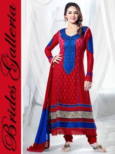 Esha Deol Red Faux Georgette Punjabi Suit vishal printed suits collection 2013 [BGSU 14449] - 626NKr : Punjabi Suit, Designer Sarees , Anarkali Suit, Salwar Kameez, Bridal lehenga Choli, Churidar Kameez, Anarkali Suit, Punjabi Suit Designer Indian Saree, Wedding Lehenga Choli