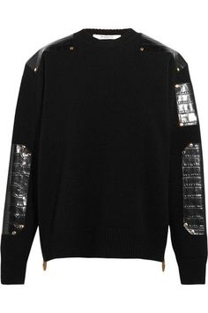 Givenchy - Sweater In Croc-effect Leather-trimmed Wool - SALE20 at Checkout for an extra 20% off