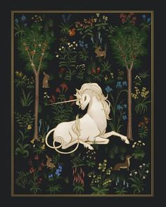 Heraldic style medieval unicorns are among my favorite fantasy creatures. This reminds me of the Last Unicorn. Mythological Creatures, Fantasy Creatures, Mythical Creatures, Unicorn Tapestries, Medieval Tapestry, Creepy, Unicorn Art, Unicorn Painting, Unicorn Fantasy