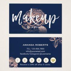 #makeupartist #businesscards - #Makeup Artist Rose Gold Floral Navy Blue Loyalty Business Card