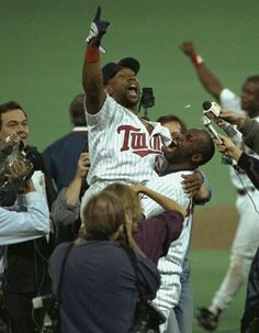 Kirby Puckett Following His 11th Inning Home Run Win In Game 6 Of The 1991 Word Series