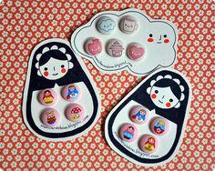 Autumn Fabric Covered Buttons | von Memi The Rainbow auf flickr