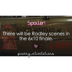 There will be Radley scenes in the 6x10 finale.  It always leads back to Radley.. #pll #prettylittleliars #summerofanswers #gameoncharles #nostoneunturned #whoisCharles #whoisA #CharlesisA #alisondilaurentis #hannamarin #emilyfields #spencerhastings #ariamontgomery #monavanderwaal #pllspoilers #plltheories #prettylittleliarsspoilers #prettylittleliarstheories #pllfans #prettylittleliarfans #spoby #ezria #haleb #emison #follow #lucyhale #shaymitchell #ashleybenson #troianbellisario…