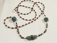Very long beaded necklace  Indonesian beads with by BorderBeads, £14.95