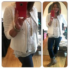 A little Pinterest inspiration for today's outfit. Comet Wash Boyfriend Jeans (fall14) with Bobbin Lace Top (sp15) and Occassion Jacket (sp14)...feeling lacy today