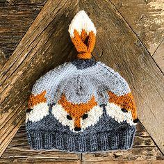 Fuchs Hut Muster von Eva Norum Olsen - For Knitted Hats Kids, Knitting For Kids, Baby Knitting Patterns, Knitting Projects, Crochet Patterns, Free Knitting, Knit Crochet, Crochet Hats, Fox Hat