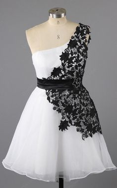 White Black Sleeveless Mini A Line Chiffon Tulle One Shoulder Appliques Lace Short Homecoming Dress