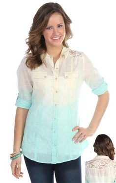 three quarter roll tab sleeve ombre top with partial lace back