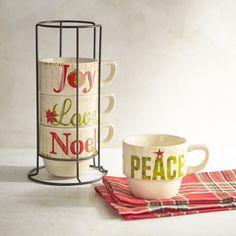 Glad Tidings Stackable Coffee Mug Set Bronze
