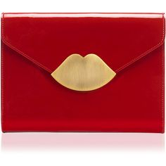 LULU GUINNESS Red Patent Leather Small Envelope Clutch by None, via Polyvore