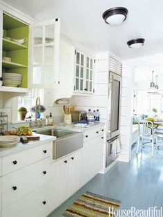 Pop of green. Architect: Gil Schafer. Color consultant: Eve Ashcraft. housebeautiful.com. #kitchen #green #color #apple_green
