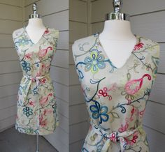 Flower Embroidered Sheath Dress Peter Stevens by GeekGirlRetro