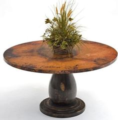Copper Dining Table - Wood Pedestal Base - traditional - dining tables - Woodland Creek Furniture, Color; base