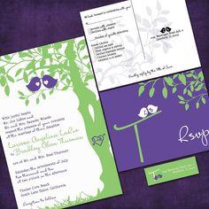 Purple and Green Love Birds Wedding Invitation Cute :)