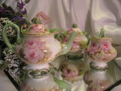 Magnificent RARE MOLD BEAUTY Limoges France Antique Victorian Tea Set from oldbeginningsantiques on Ruby Lane