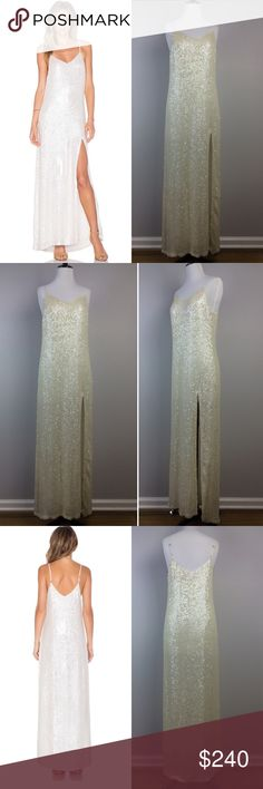 """BNWT MLV pearl white sequin embellished gown Have a red carpet moment in this stunning BNWT MLV pearl white sequin gown. Show off your legs angelina Jolie style ✨✨Dress length approximately 57"""" with adjustable straps. The front slit is 28"""" long. MLV Dresses Prom"""