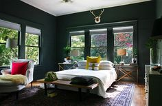 cozy dark green bedroom