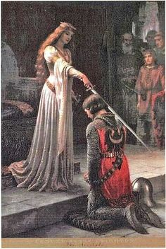 """""""The Accolade"""" Cross Stitch Pattern - One of Leighton's most beloved paintings translated into an impressive cross stitch pattern. Perfectly captures the romance and chivalry of days of yore. Design is 300 stitches wide by 451 stitches tall."""