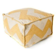Check out this item at One Kings Lane! Chevron Outdoor Pouf, Yellow