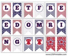 """Free 4th of July banner. """"Let Freedom Ring"""""""