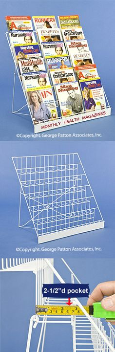 "6-Tiered 29"" Wire Display Rack for Tabletops, 2.5"" Open Shelves, with Header - White"