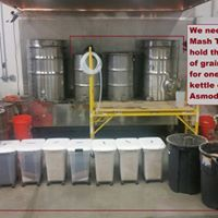 633lbs of grain  held in 3 mastuns! Fun fact from Metal Monkey Brewing Co.