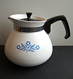 Tea Pot, Cornflower Blue , Corning Ware, this sets on my stove to this day, it was my moms.