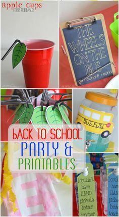 Back to School party ideas and free printables #HomeMattersParty loved the bus food, monogram Tshirt craft and the favors that double as teacher gifts