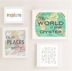 Printable  Gallery Nursery Wall Art Set Map World by CheekyAlbi, $24.00