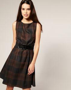 50's Style Belted Tartan Dress