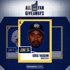 Retired #Brewers slugger Greg Vaughn is featured in our next All-Fan Giveaway reveal! Visit us on Facebook or Twitter for your chance to win tix to Greg Vaughn Bobblehead Day on Sunday, June 26 before you can find them anywhere else.
