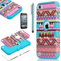Pandamimi ULAK (TM) Hybrid Pink Hard Aztec Tribal Pattern + Blue Silicon Case Cover For Apple iPod Touch (Generation 5) +Screen Protector +Stylus by ULAK, http://www.amazon.com/dp/B00BUFBQWU/ref=cm_sw_r_pi_dp_SP5Hrb0WS9NWA