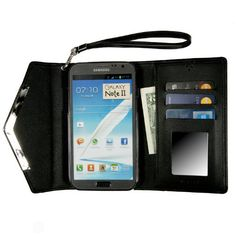 Womens Wallet Case with Mirror for Samsung Galaxy Note 2 II - Black
